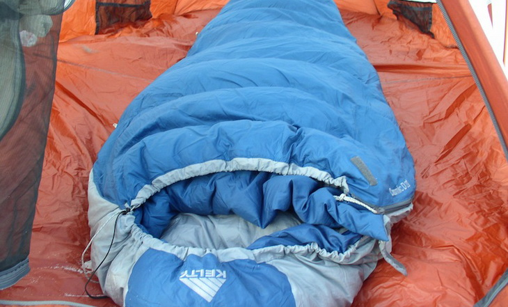 Kelty Cosmic 20 Degree Sleeping Bag in a tent