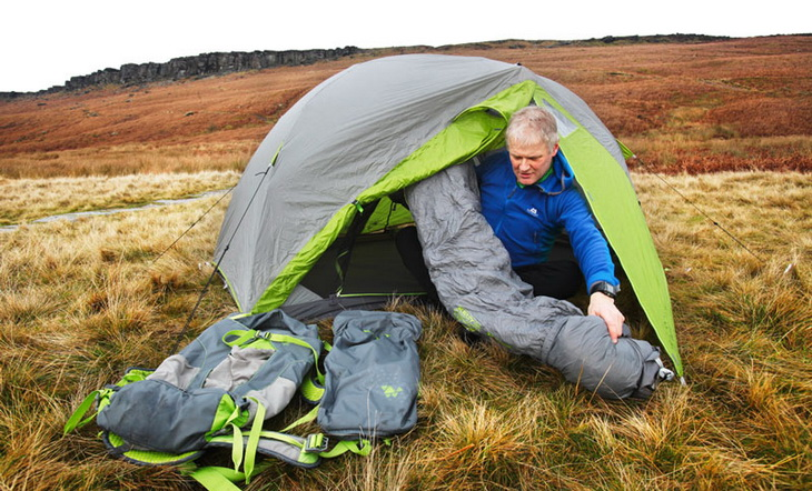 Man setting up Kelty TN 2 Person Tent
