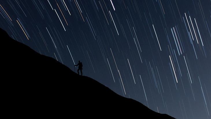 Man hiking a tnight