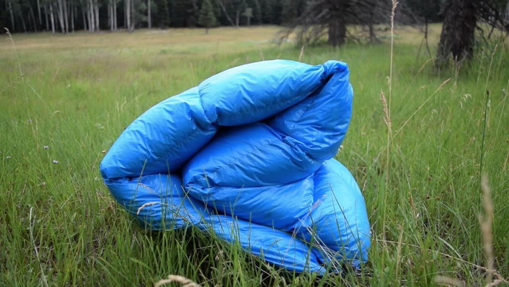 Outdoor Vitals Sleeping Bag laying on the grass