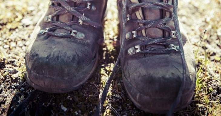 Close-up of hiking boots