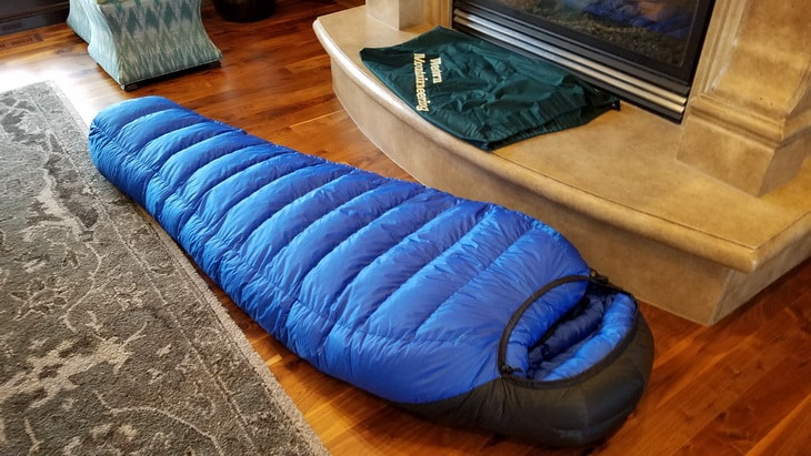 Puma Gore WS sleeping bag laying down in the house