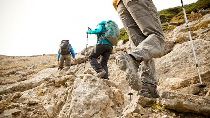 Hikers climbing the mountains