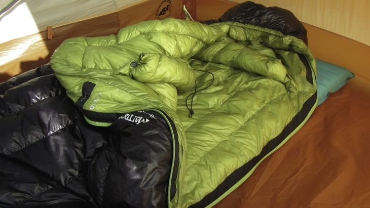 Marmot Plasma 30 sleeping bag in a tent