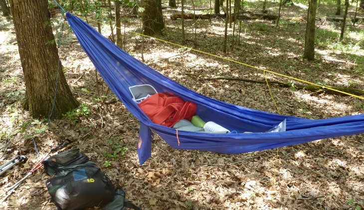 Grand Trunk Ultralight Hammock hanging in the forest