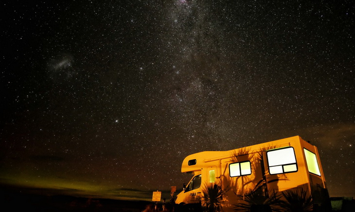 White Camper Van Under Star Lit Sky