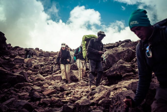 a group of backpackers on the trail
