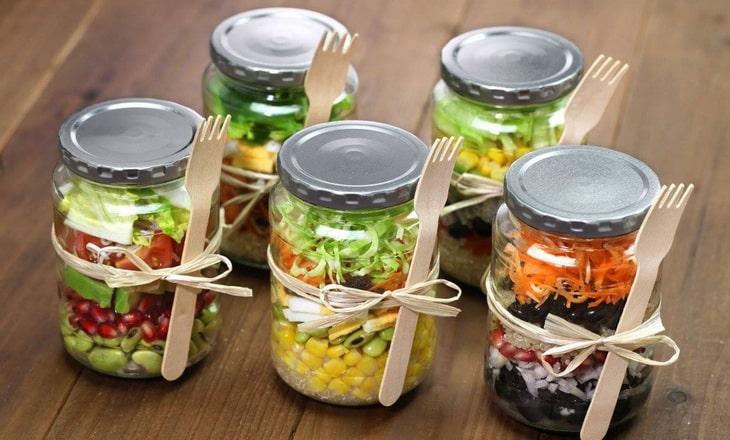 healthy food stored in jars