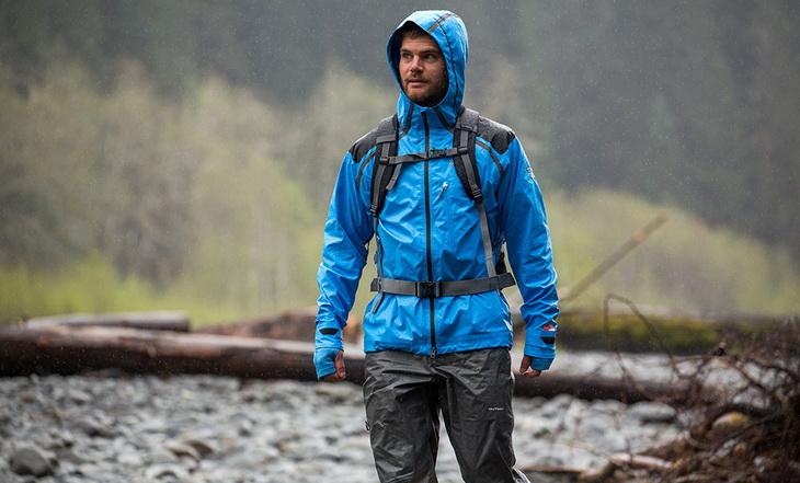 A man wearing a rain-jacket