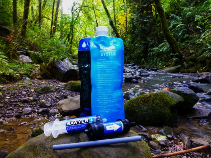 sawyer mini water filter in nature