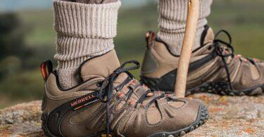 A hiker wearing a merrell hiking boots