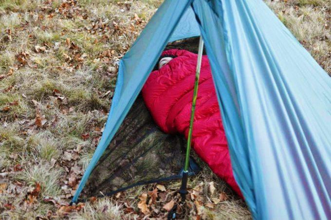 girl sleeping in summerlite sleeping bag