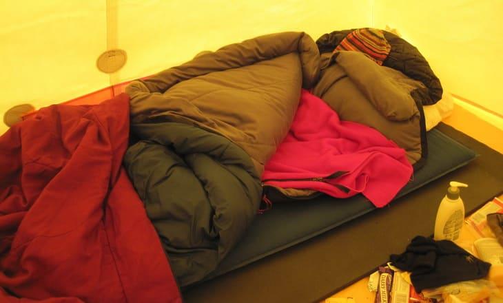 sleeping bag on a sleeping pad in a tent outdoor