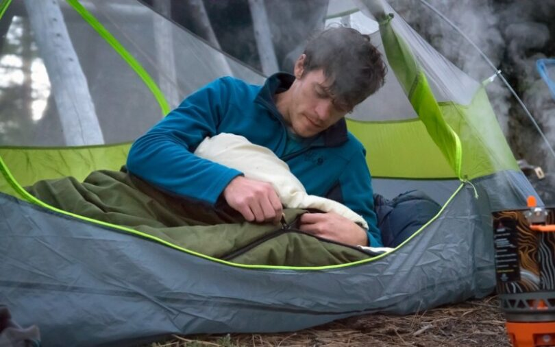 slumberjack country squire bag in a tent