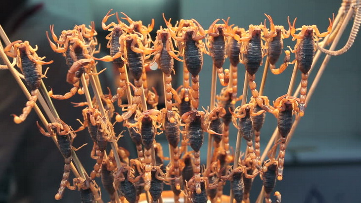 street Market selling Scorpions and Starfish, China, Beijing