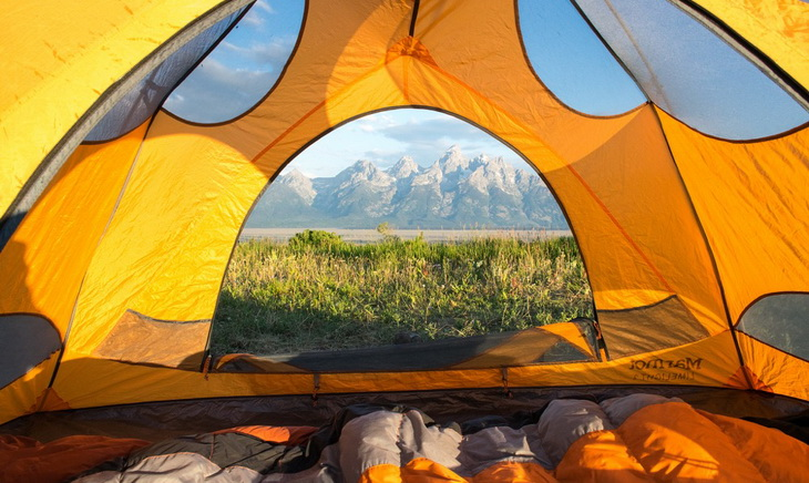 Morning view of mountains from tent