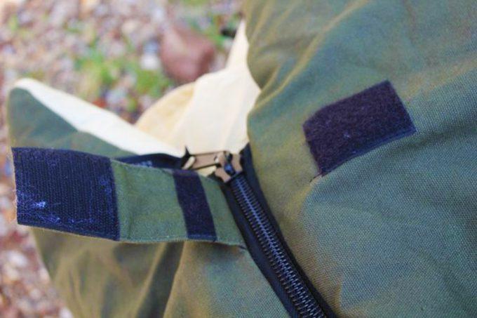 velcro zipper on sleeping bag