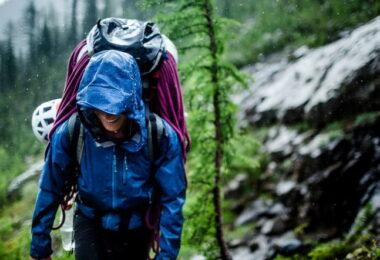 Woman wearing a waterproof jacket on a rainy day