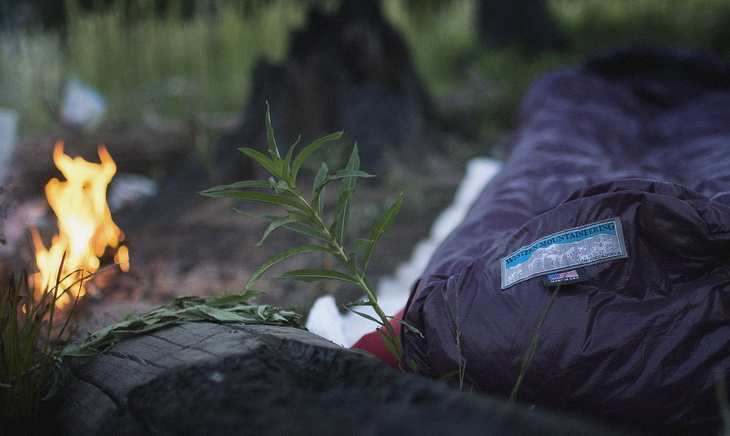 Western Mountaineering sleeping bag in a camp outside