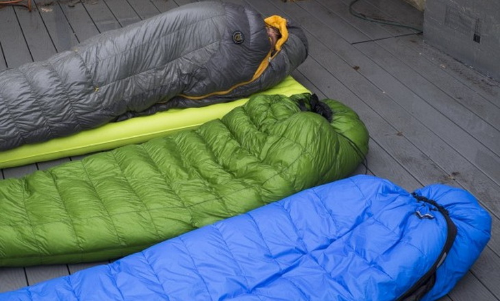 three sleeping bags on the floor