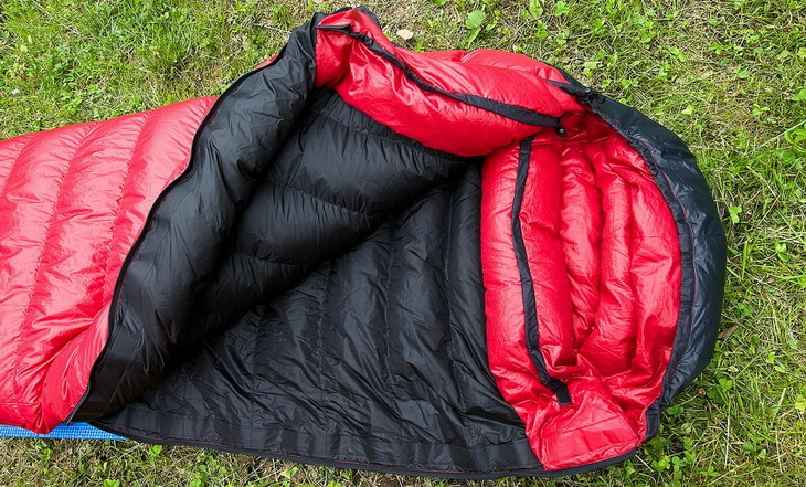 Western Mountaineering sleeping bag on the grass
