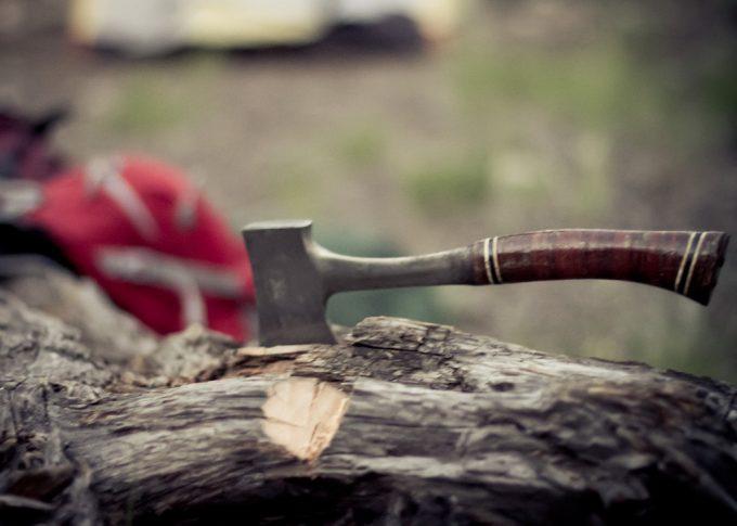 A hatchet on a fallen tree trunk
