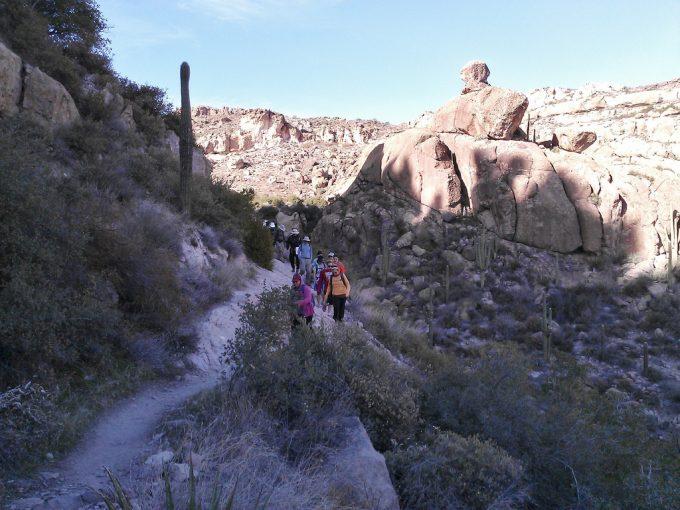 Hikers hiking Peralta Trail