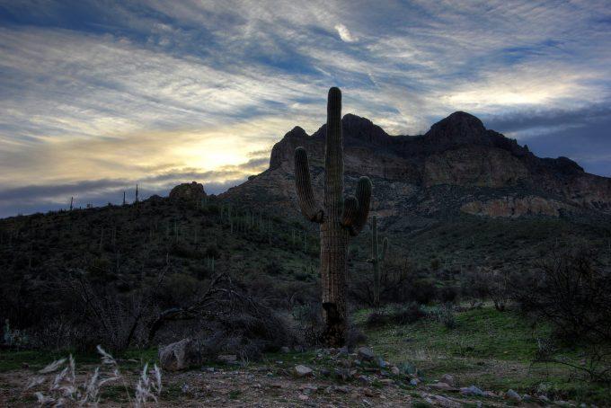Sunrise over Picketpost Mountain near Superior Arizona