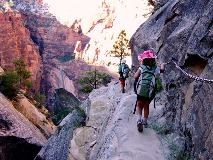 Hikers on Hidden Canyon trail