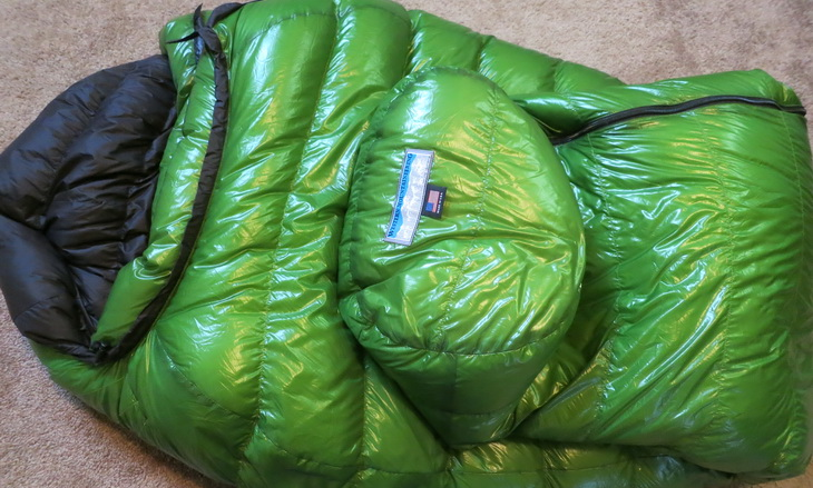 Western Mountaineering sleeping bag laying down in a house