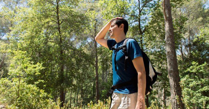 Sweaty exhausted hiker