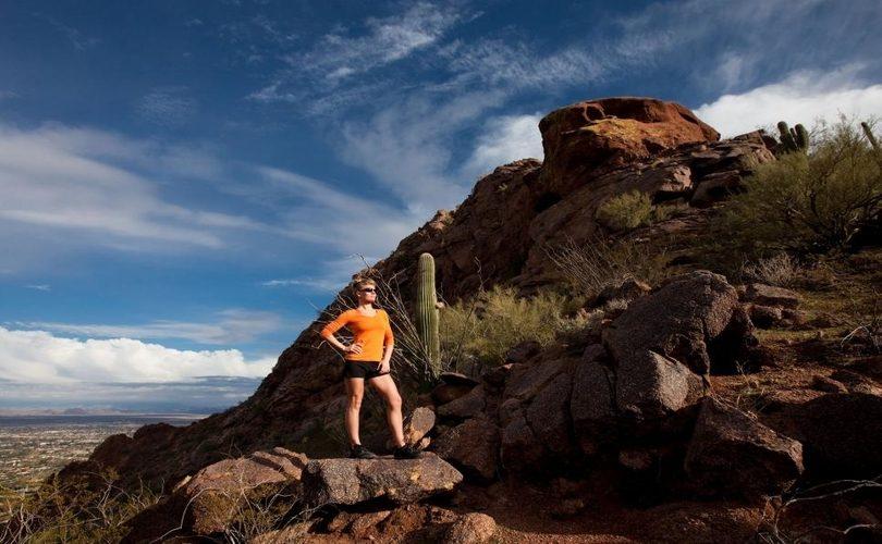 A girl on cholla trail in phoenix