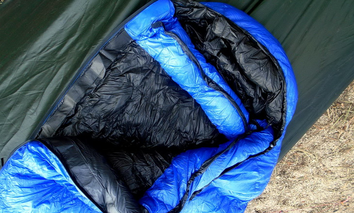 Aerial view of Western Mountaineering Ultralite Mummy Sleeping Bag in a hammock