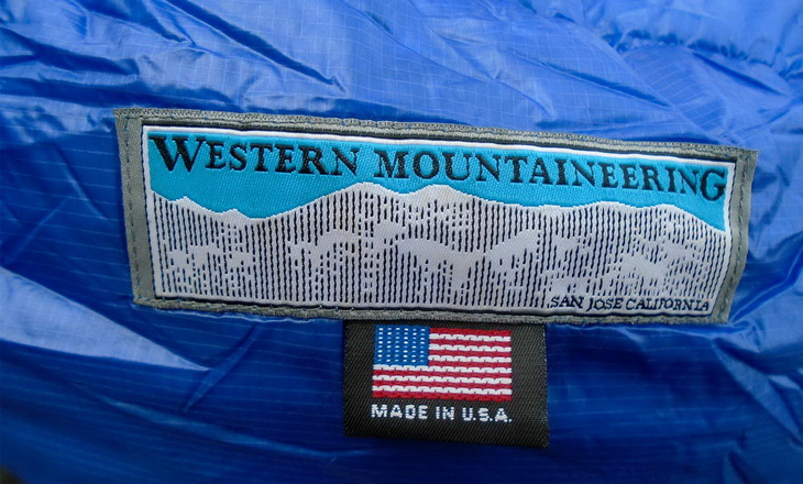 Western Mountaineering logo on Ultralite Mummy Sleeping Bag