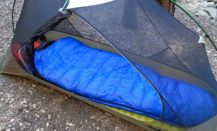 Western Mountaineering Ultralite sleeping bag in a tent