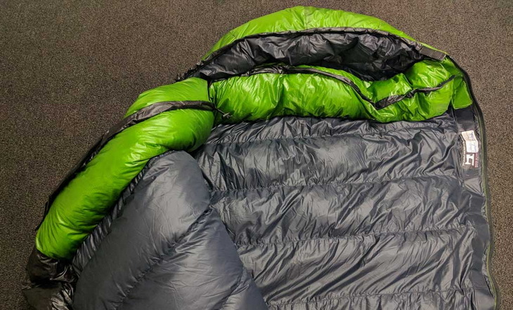 Western Mountaineering sleeping bag on the floor