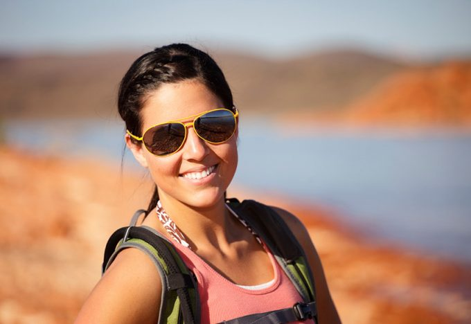 hiker with sunglasses