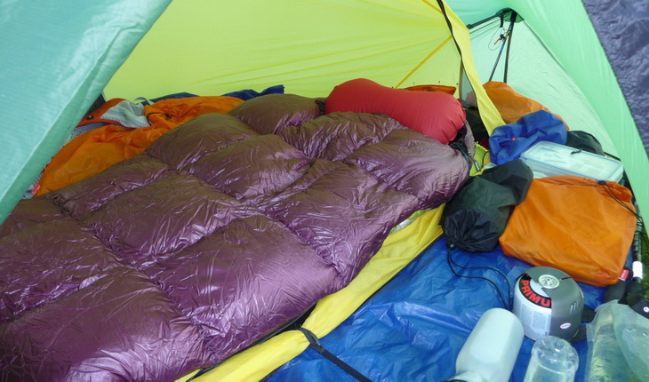 Western Mountaineering HighLite in a tent