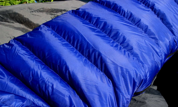 Close-up image of a blue sleeping bag