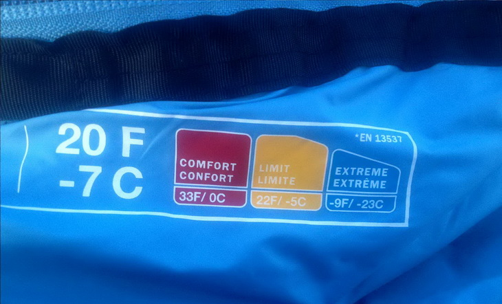Close-up of The North Face Cat's Meow Sleeping Bag temperature rating