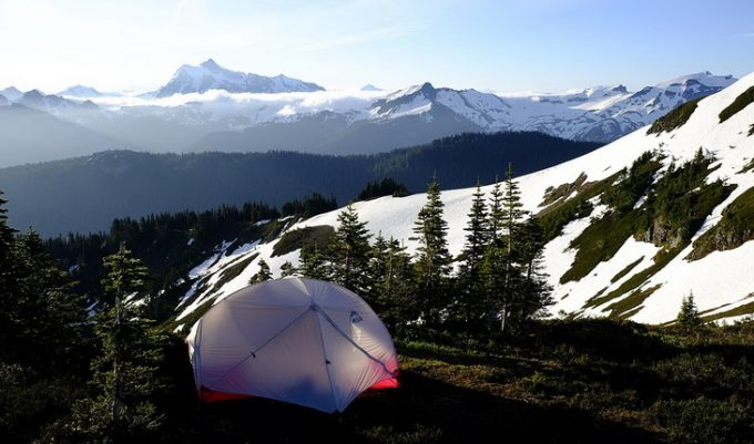 Image showing the MSR Hubba Hubba NX backpacking tent and a beautiful mountains landscape