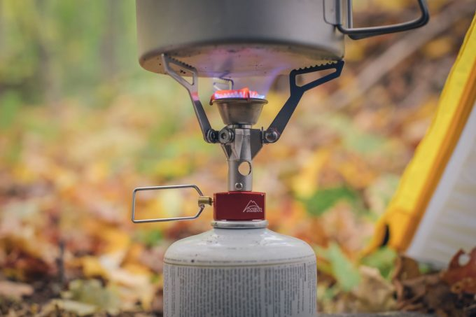 Close-up image showing the MSR PocketRocket Stove in action