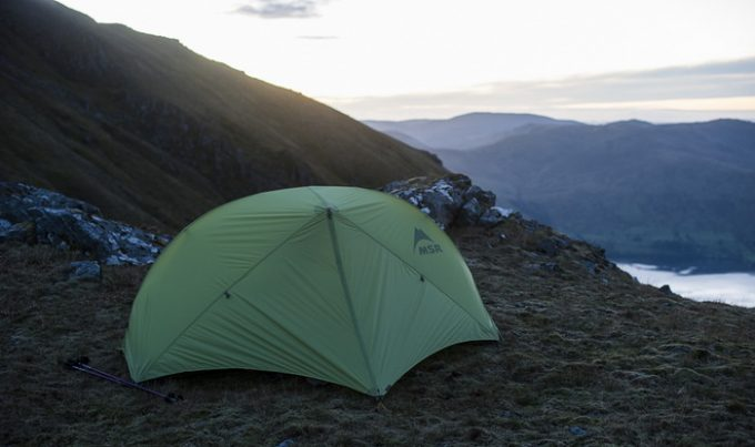 MSR Hubba Hubba NX 2-Person Tent on top of the moutains