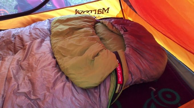 Nemo Nocturne Sleeping Bag in a tent