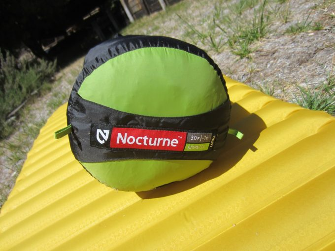 Nemo Nocturne Sleeping Bag packed on the ground