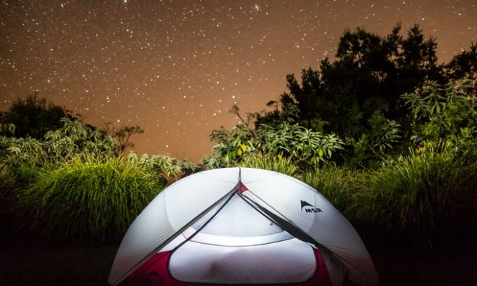 Image of MSR Hubba Hubba NX 2-Person Tent during night time