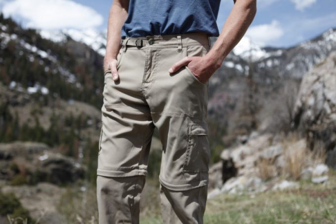 Image showing a man wearing a pair of winter hiking pants on a winter sunny day