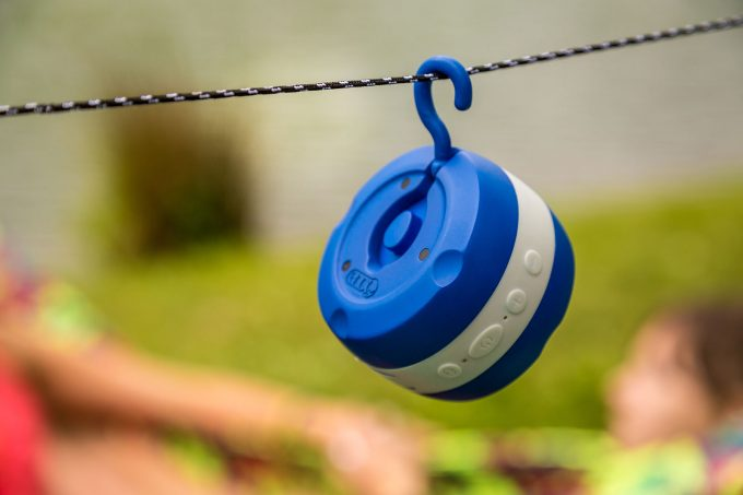 Image showing a ENO-ECHO-Rechargeable-Waterproof-Bluetooth-Speaker hanging outside