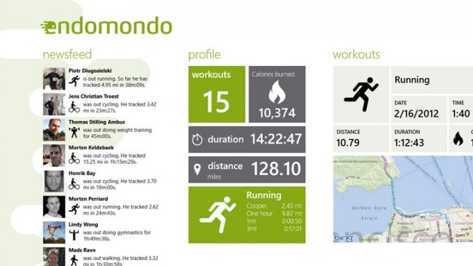 Main application page of Endomondo app