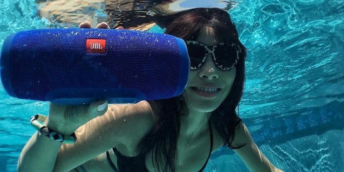 The JBL Charge 3 Bluetooth speaker is perfect for the pool